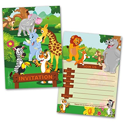 Party Invitation Cards 20 With Envelopes Jungle Animals Themed Flat Style