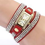 Geneva Women's Rhinestone Braided Winding Wrist Watch