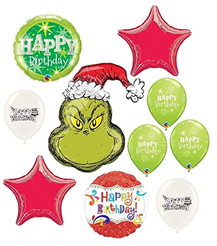 The Grinch Wishes You A Happy Birthday Party Decorations Balloon Bouquet Bundle