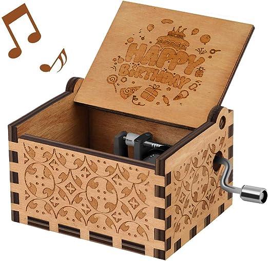 Caja de musica con manivela melodia Happy Birthday To You