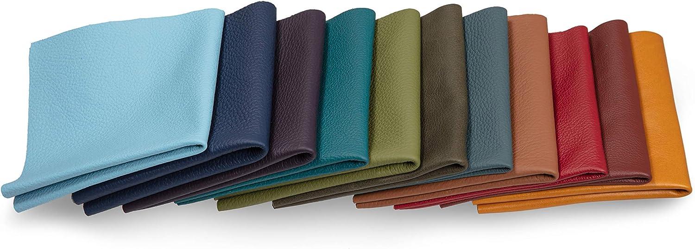 Recortes de cuero - restos de cuero de colores, restos de cuero, tamaños grandes, alta calidad, ideal para bolsos, zapatos, reparaciones, decoraciones, manualidades, 1 kg, tamaño A3