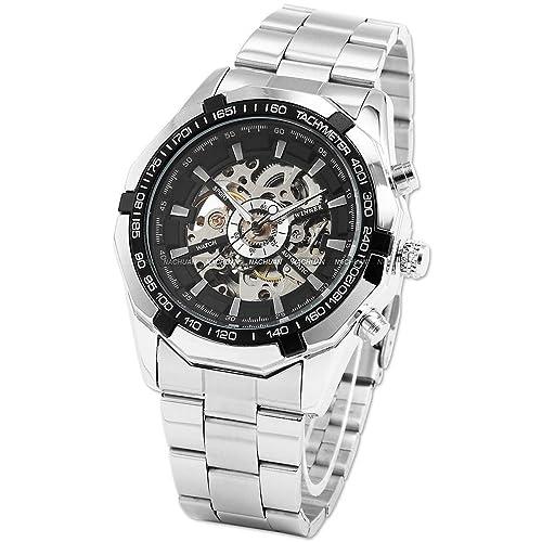 NICERIO WM257, Men's Bezel Skeleton Dial Stainless Steel, Self-Wind Up Mechanical Automatic Watch, Black