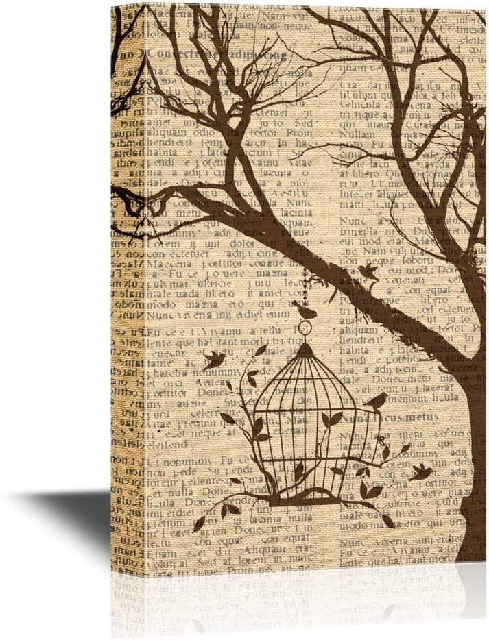 Amazon Com Wall26 Canvas Wall Art Birds And Bird Cage Hanging On A Tree Branch Gallery Wrap Modern Home Art Ready To Hang 12x18 Inches Posters Prints
