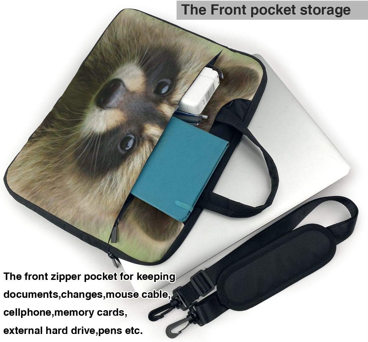 Cute Raccoon Functional Laptop Sleeve Case with Strap Fits 13-15.6in Notebook for Office NEPower Laptop Tote Bag
