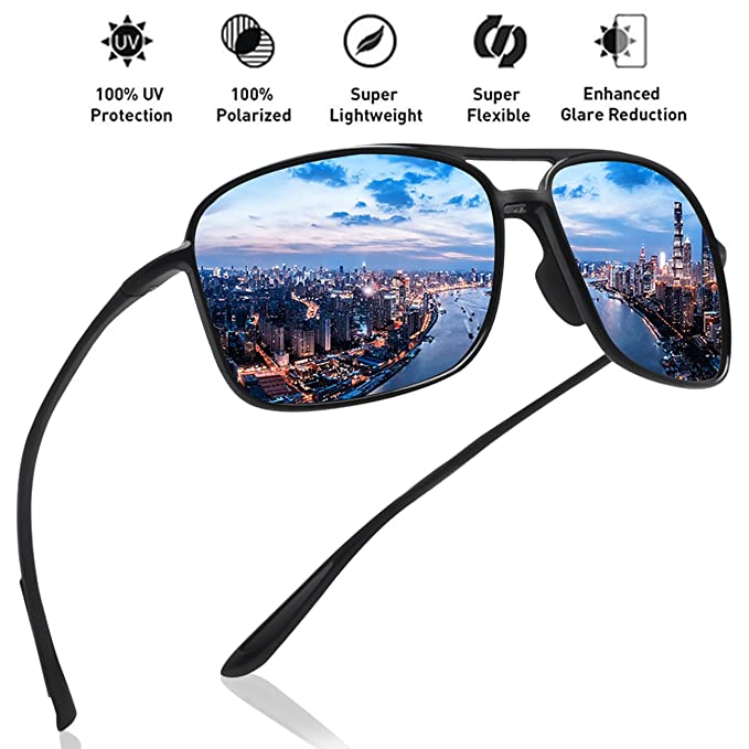 f4afee5997 Image Unavailable. Image not available for. Color  JULI Polarized Pilot  Sports Sunglasses for Men Women Tr90 Unbreakable Frame ...