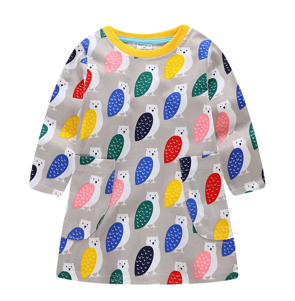 Toddler Little Girl Cotton Long Sleeve Cute Pigeon Print Spring Autumn Party Dress,4T/110cm,19#pigeon