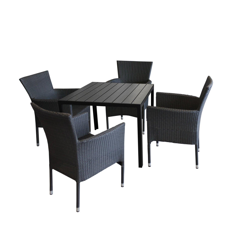 5tlg gartengarnitur gartentisch polywood 90x90cm 4x stapelbare polyrattan sessel schwarz. Black Bedroom Furniture Sets. Home Design Ideas