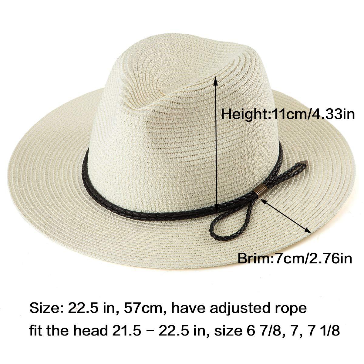 2f8eea888 LADYBRO Straw Fedora Hat Men Cap - Milk White Straw Hat Summer ...