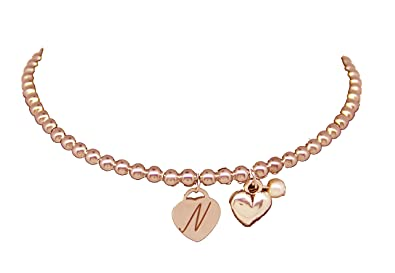Personalised Engraved Name Rose Gold Heart Charm Bracelet Engraved Free Letter, Initials Or Date