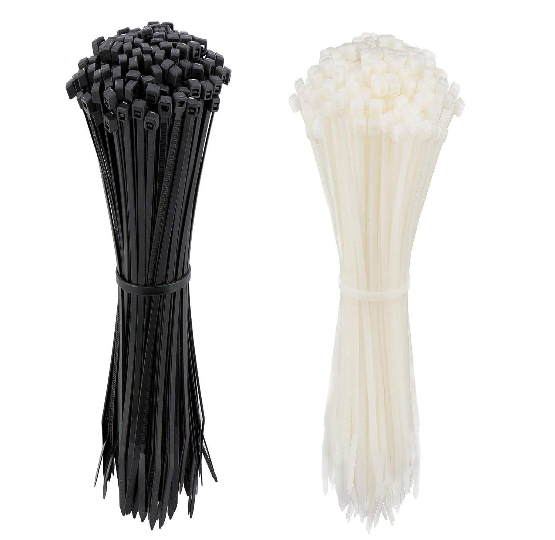 Zip Ties 12 Inch Velcro Cable Ties Heavy Duty Zip Ties 12 Inche Velcro Wire Ties 200 Pieces Nylon Cable Ties Wraps with 0.14 Inch Width in Black White Zip Ties Indoor and Outdoor UV Resistant