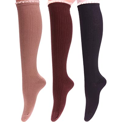 3 Pairs Women Knit Cotton Lace Trim Knee High Boot Socks, Size 5-9 WS113 (mixed 01) at Amazon Women's Clothing store