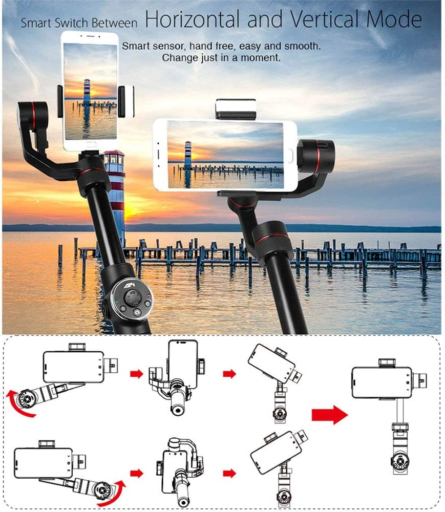 3 Axis Anti-Shake Handheld Gimbal Stabilizer,w//Focus Pull /& Zoom Auto Panorama,Super Lightweight,Mobile Phone APP Control Built-in Flash