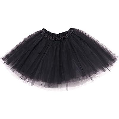 Adult Classic 3 Layered Tulle Tutu Ballet Skirts Ruffle Pettiskirt, Black at Women's Clothing store