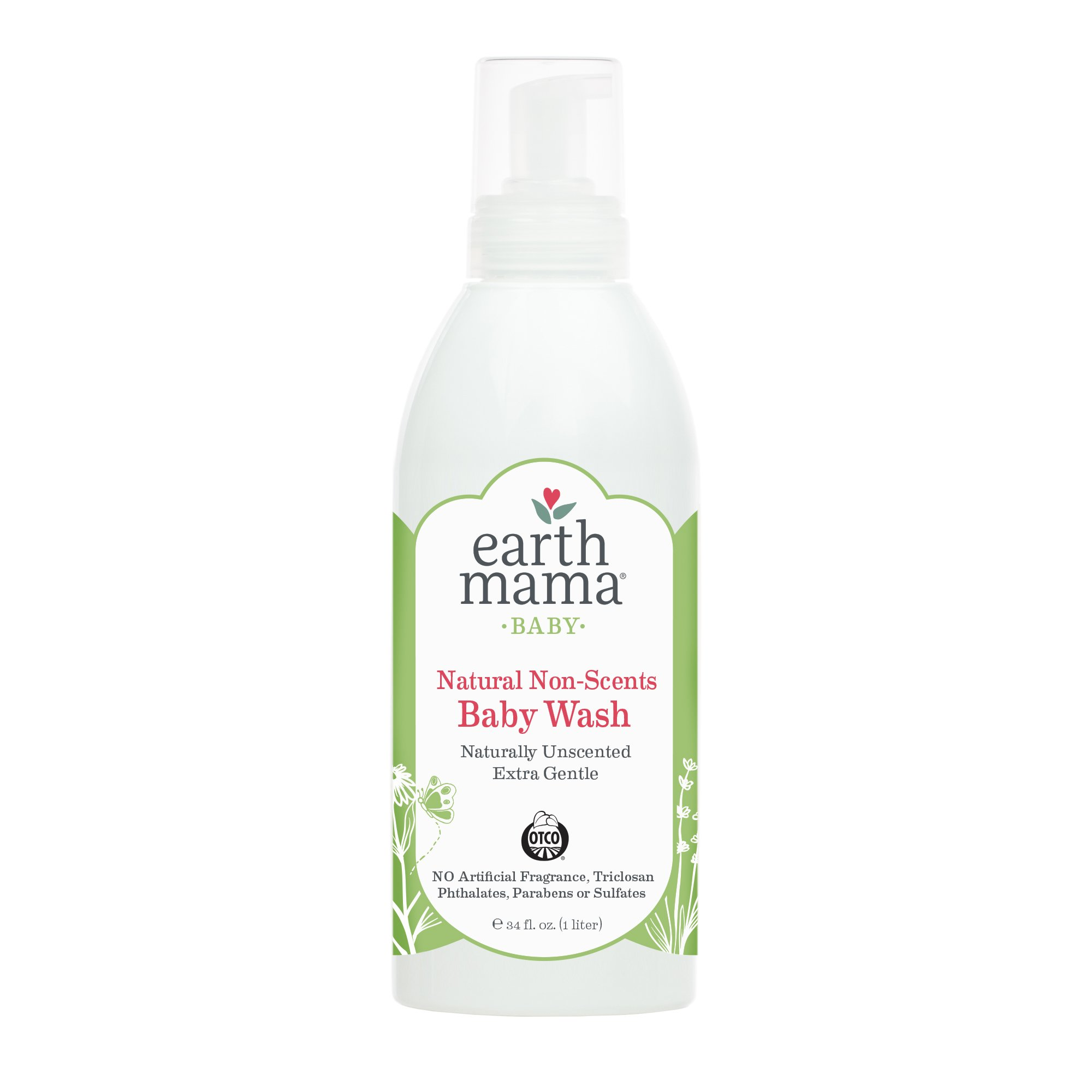 Earth Mama Natural Non-Scents Baby Wash Gentle Castile Soap for Sensitive Skin, 34-Fluid Ounce (Packaging May Vary)