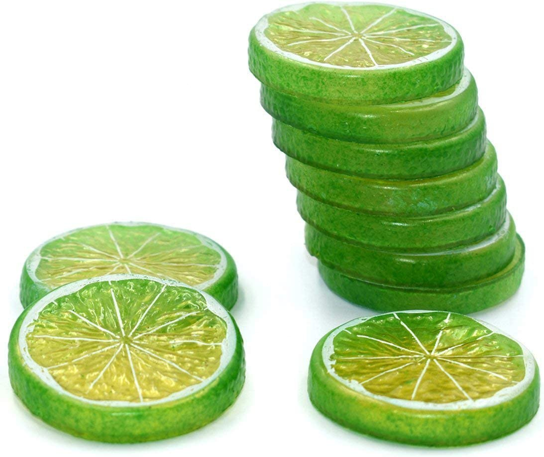 Hagao Fake Lemon Slice Artificial Fruit Highly Simulation Lifelike Model for Home Party Decoration Green 10 pcs