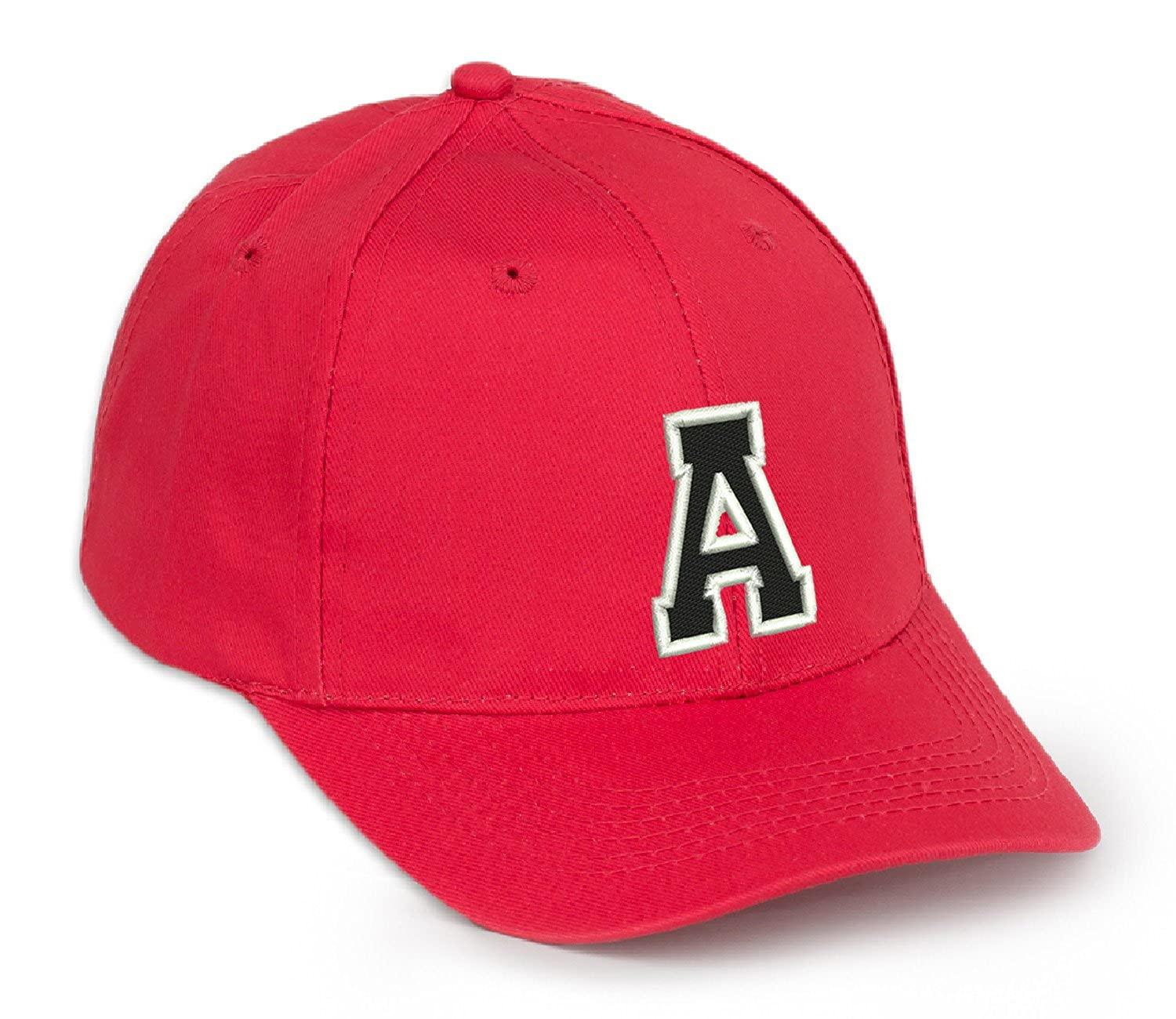 4sold Casual Cotton Baseball Cap Alphabet A-Z Red Caps Black Letter Snap Back Hat Hats Snapback A-z letters black