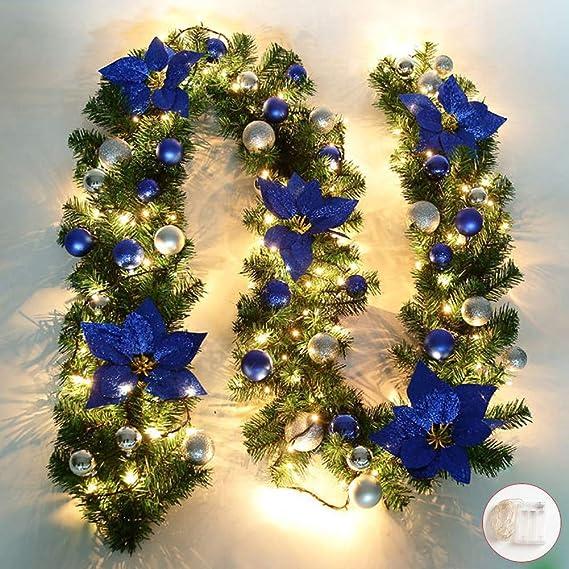 Queta Adornos Guirnalda de Navidad, Guirnalda de Abeto Decoración Navideña con Flores Lámparas Hermosas Decoración Navideña para Escaleras, Paredes, Puertas 2.7m (Azul): Amazon.es: Hogar