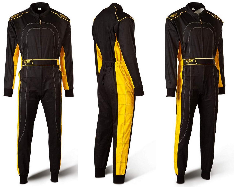 Tuta Stile Formula 1 Tuta kart da corsa Nero e Giallo XXL Speed Racewear Karting Suit