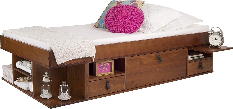 Memomad Cama Funcional Bali 90x190 cm - Estructura con Mucho Espacio de almacenaje y cajones, Ideal para dormitorios pequeños - Cama de Madera Maciza ...