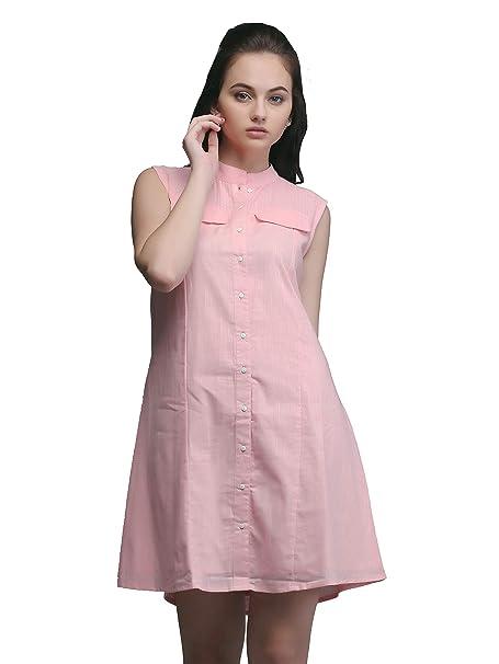102b865bd0c Eavan Women s Pink Shirt Dress - EA3312  Amazon.in  Clothing ...