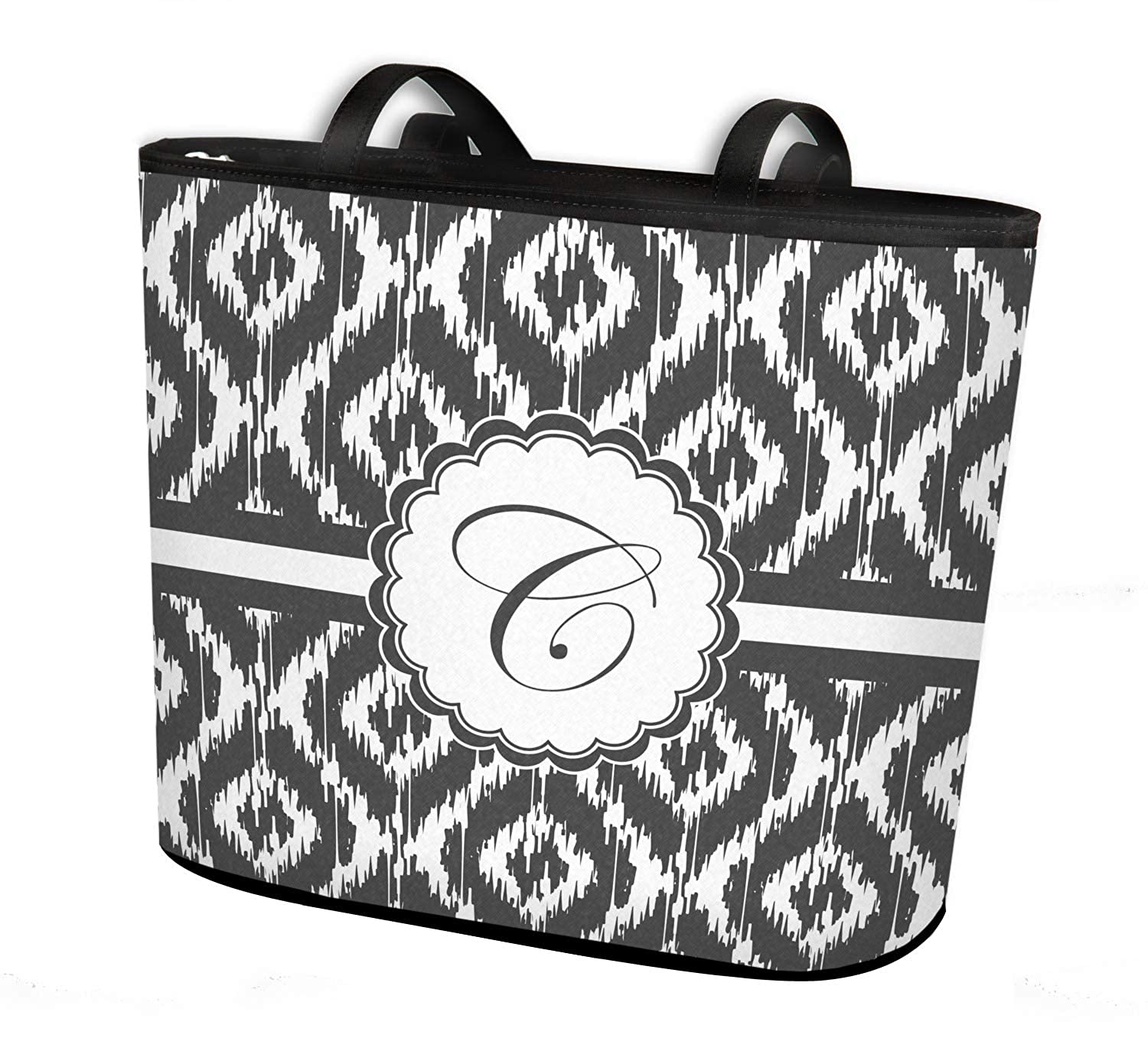 Personalized Regular w//Front Design Ikat Bucket Tote w//Genuine Leather Trim
