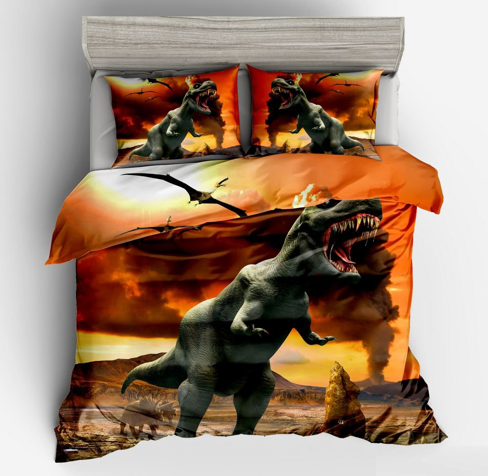SxinHome 3D Tyrannosaurus Rex Bedding Set for Teen Boys, Duvet Cover Set,3pcs 1 Duvet Cover 2 Pillowcases(no Comforter inside), Full Size