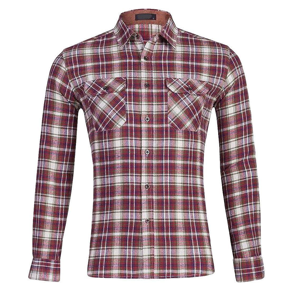 Abeaicoc Mens Long Sleeve Plaid Print Slim Fit Button Up Shirt with Pockets