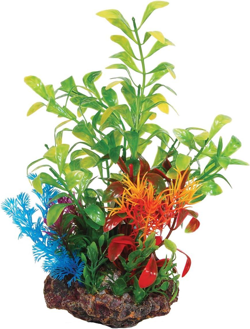22 cm Aqua Spectra Sucker Mounted Plant with Rock Base Aquarium Ornament