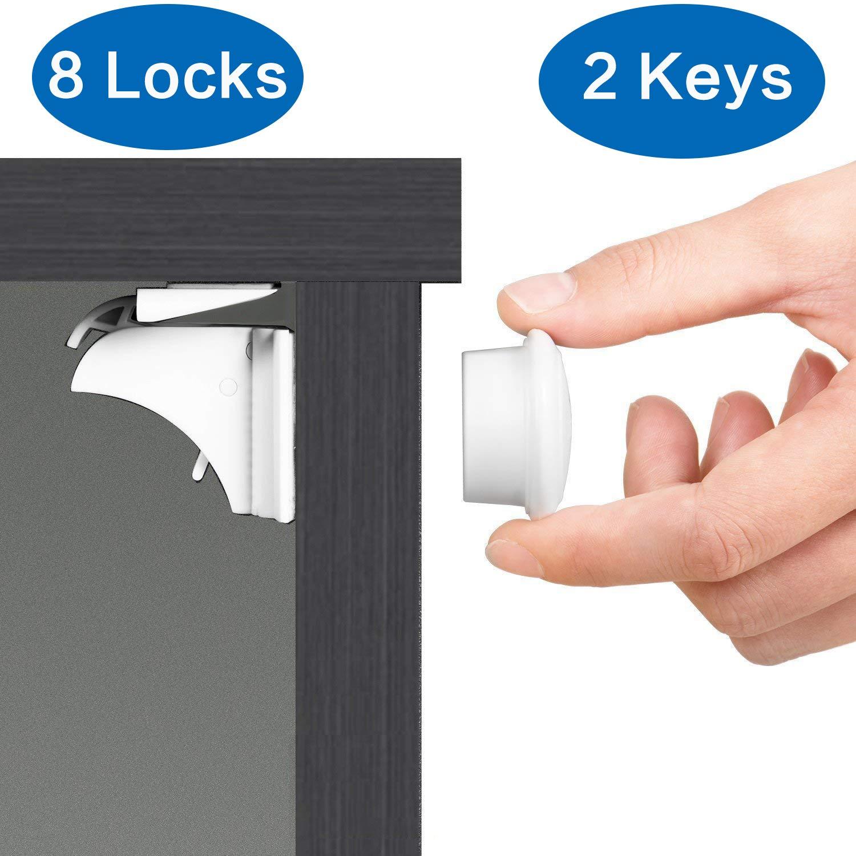 Cerraduras magnéticas del gabinete de la seguridad del bebé - 8 cerraduras + 2 llaves - Ningunas perforaciones o tornillos necesitados: Amazon.es: Bebé