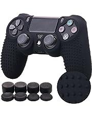 Pandaren STUDDED Silikon Hülle Anti-Rutsch für PS4 controller x 1 ( schwarz) + FPS PRO thumb grips aufsätze x 8