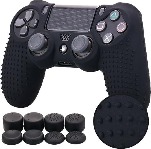 Pandaren® TACHONADO de Silicona Fundas Protectores de Piel Antideslizante para el PS4 Mando x 1 (Negro) + FPS PRO Thumb Grip Pulgar Agarre x 8: Amazon.es: Videojuegos