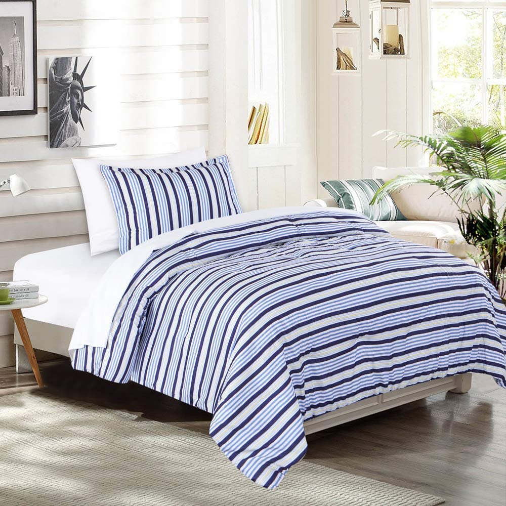 EMME Twin Comforter Set Bed in A Bag 5-Piece Luxurious Brushed Microfiber Goose Down Alternative Comforter Soft and Comfortable Machine Washable (Twin/Twin XL, Blue Stripe)