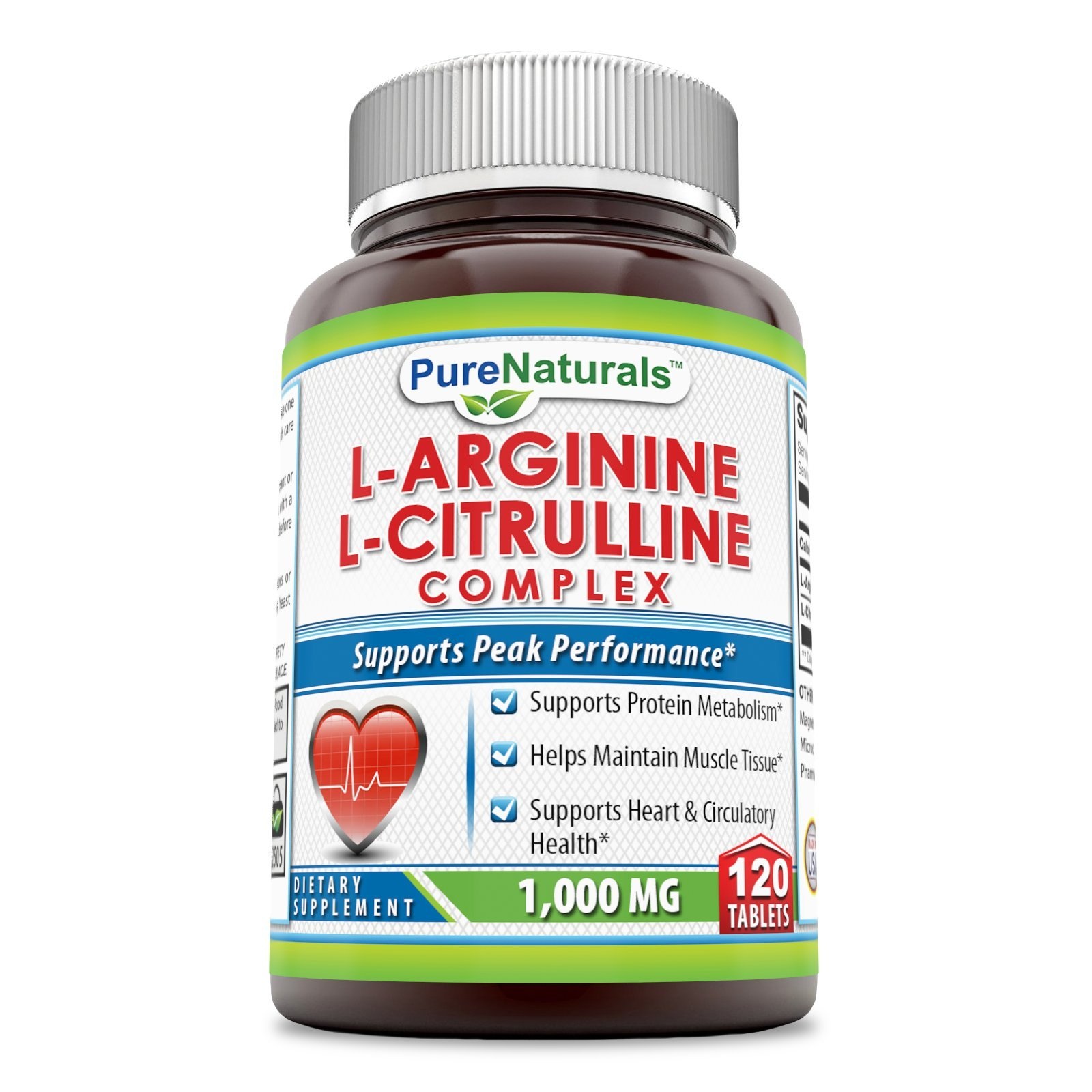 Pure Naturals L-Arginine/L-Citrulline Complex (1000 Mg - 120 Tablets) * Combines Two Amino Acids with Potential Health Benefits * Supports Energy Production * Aids to Improve Athletic Performance an by Pure Naturals
