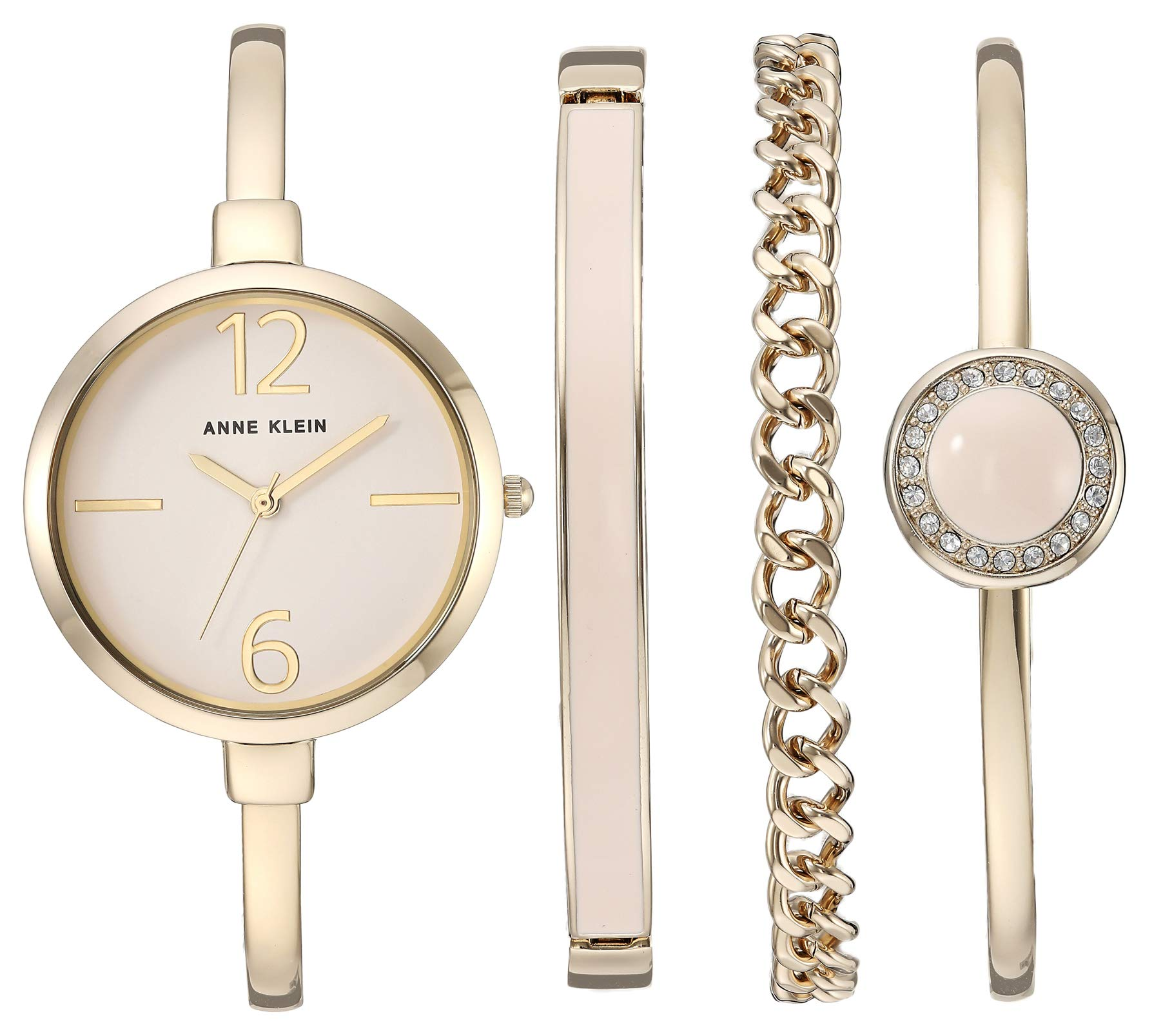 Anne Klein Women's AK/3290LPST Gold-Tone Bangle Watch and Swarovski Crystal Accented Bracelet Set by Anne Klein
