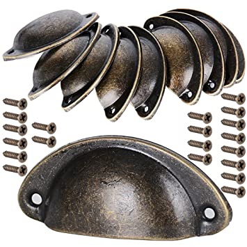 10 Stuck Muschelgriff Schubladen Griffe Antik Vintage Griffe Bronze