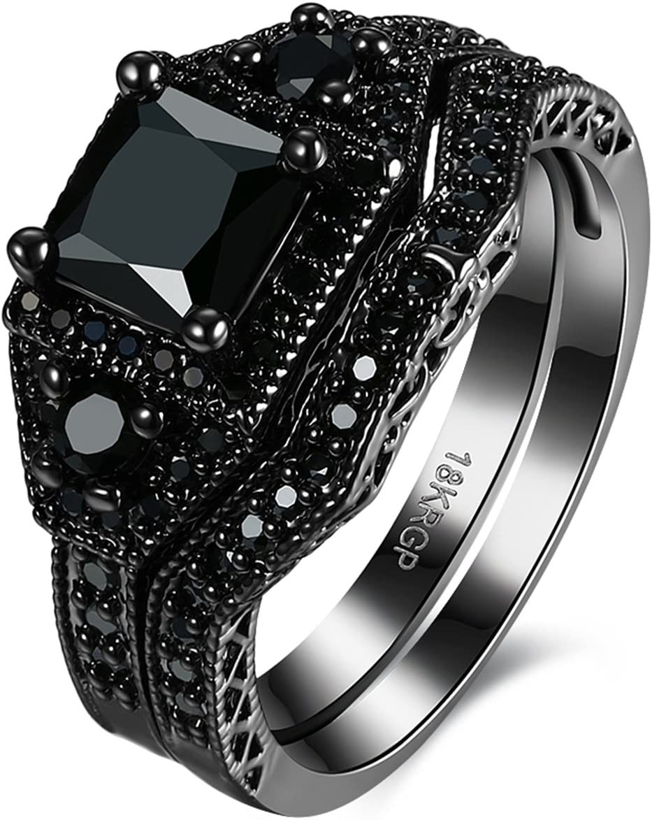 Anillos de compromiso de latón negro con diamantes blancos, corte princesa