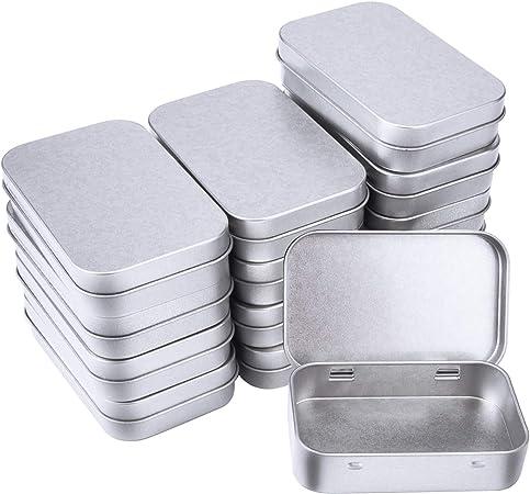 SUNMNS Mini caja de aluminio pequeña de metal rectangular vacía con bisagras caja de almacenamiento, organizador de hogar, 14 unidades: Amazon.es: Hogar