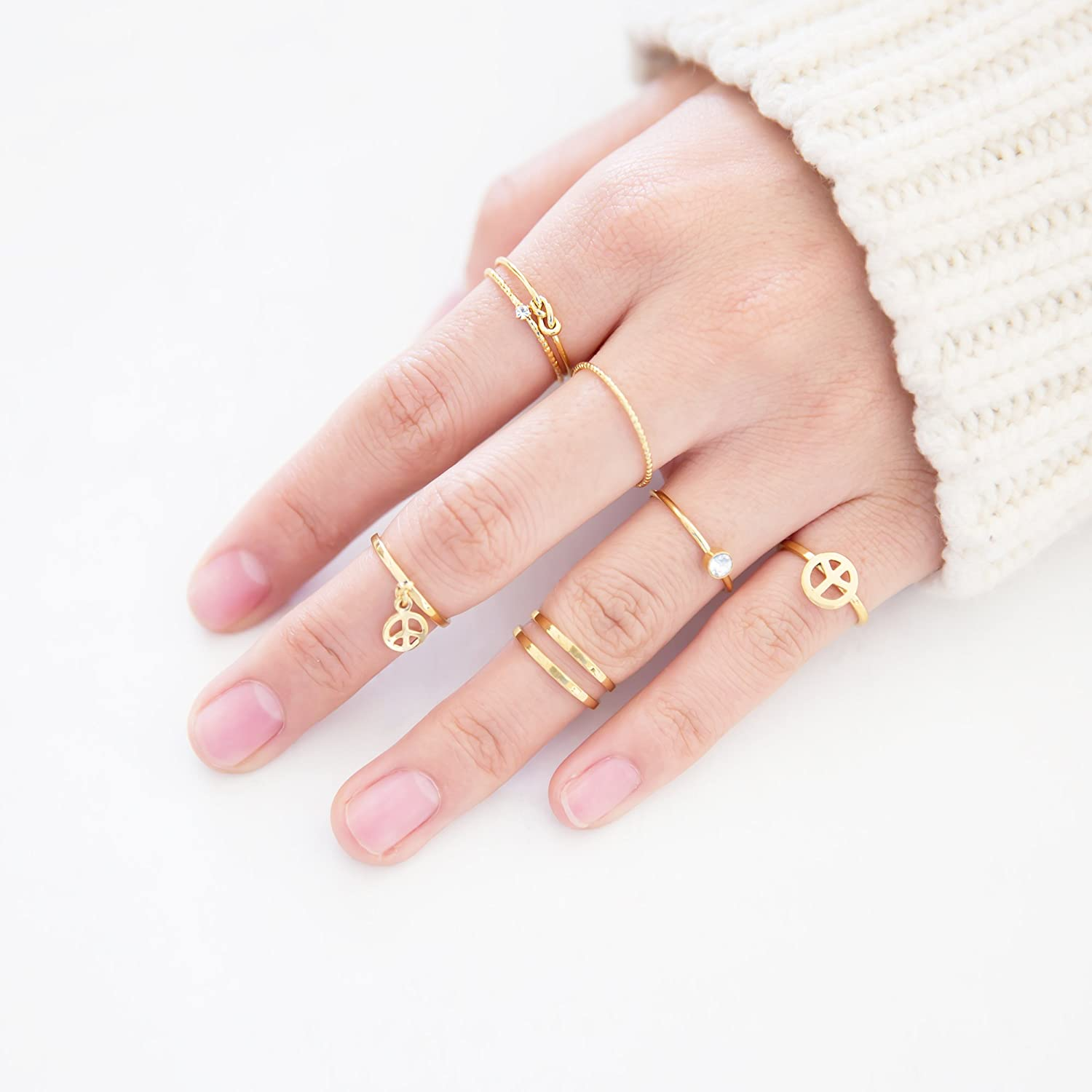 Amazon.com: Fashion Jewelry Rings Set of 7 pcs Stackable Peace ...
