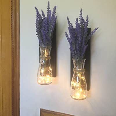 Rustic Set of 2 Lighted Sconce Mason Jar Decor, Rustic Wall Decor Home & Living, Set of 2 Hanging Mason Jar Sconces with Lavender