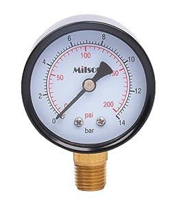 "Milson Pressure Gauge, 2"" Black Steel Case, Bottom Mount, 1/4""NPT, 0+200 Psi/Bar, Accuracy: +/-2.0, Brass Internal, Multiple Function"