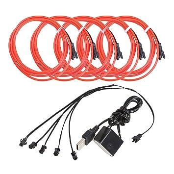 5pcs Neon Beleuchtung 1m EL Kabel Wire mit USB Kontroller Flexibel ...