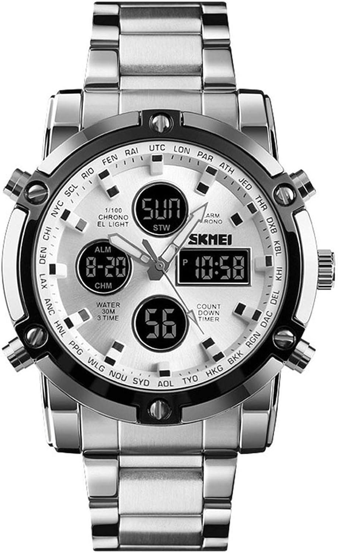 Relojes Hombre Analógico-Digital Cronómetro Relojes Calendario Alarma Relojes Deportivo LED Acero Inoxidable