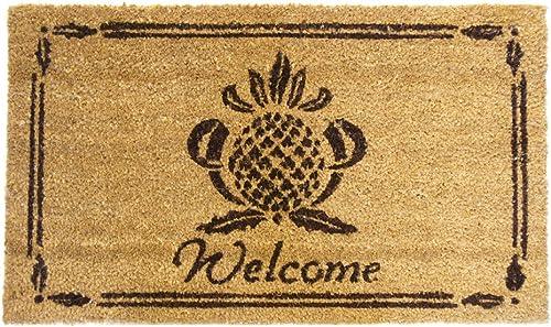 Rubber-Cal Pineapple Welcome Mat Pineapple Doormat, 18 x 30-Inch