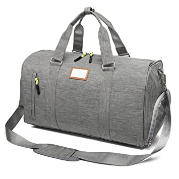 c565529f019c Waterproof Women Weekender Bag Travel Duffel Tote Bag Weekend Overnight Gym  Bag Sports Holdall with Shoes Compartment (Grey)  Amazon.co.uk  Luggage