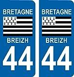 Autocollant plaque immatriculation auto département 44 BREIZH Bretagne