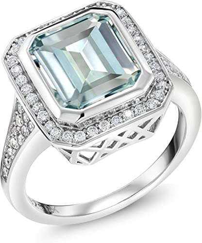Amazon.com: Gem Stone King 925 Sterling Silver Simulated Aquamarine Ring  For Women (5.00 Cttw Emerald Cut Available 5,6,7,8,9): Jewelry