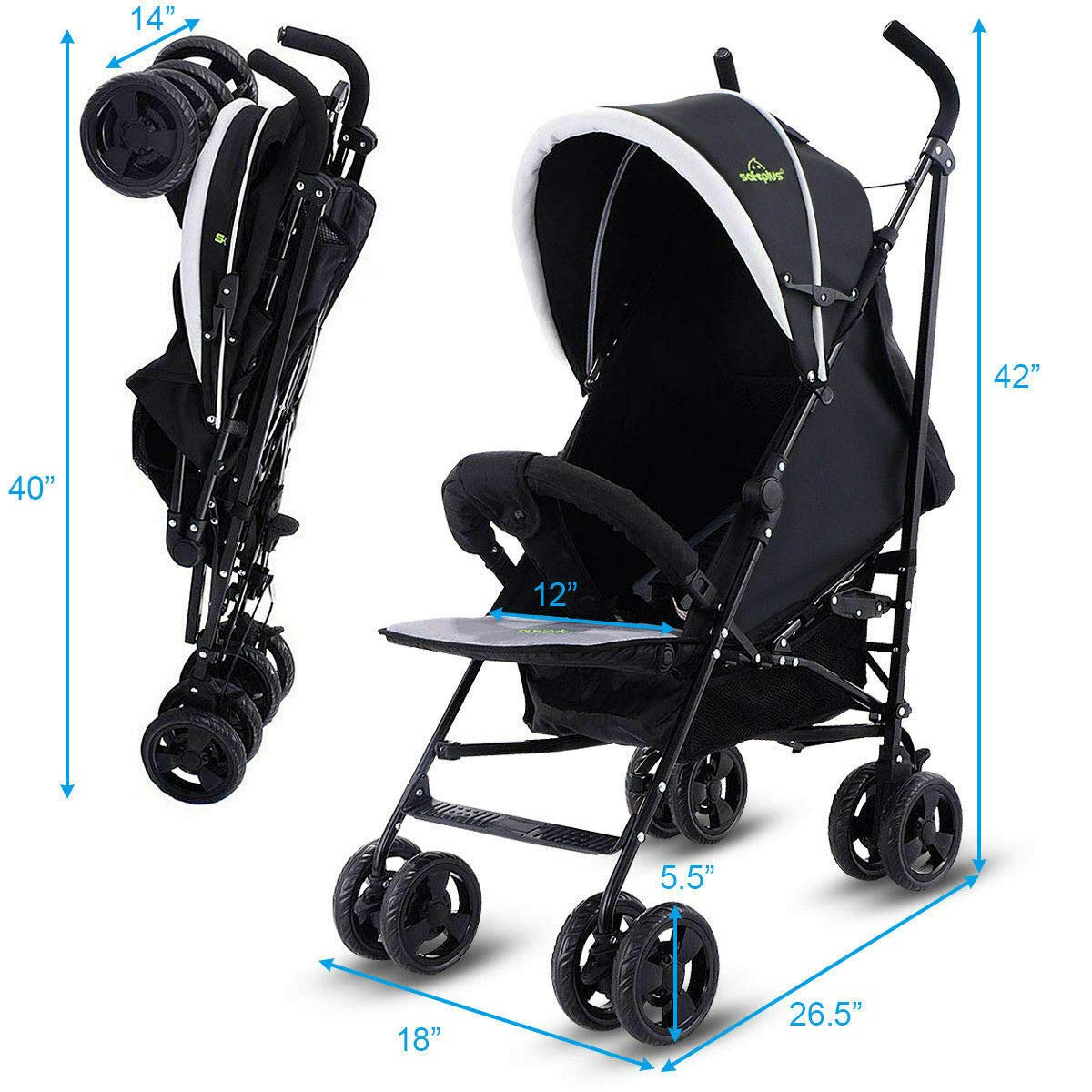 Kids Jogger Foldable Baby Stroller Buggy Travel Infant Pushchair Lightweight Eco-Friendly Material by Eosphorus BS (Image #6)