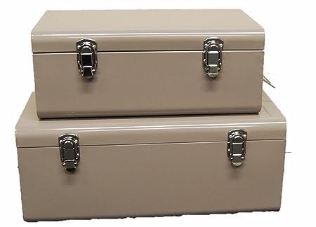 Set of 2 Stowaway Boxes. Set of 2 Large Metal Storage Boxes Retro Look Storage  sc 1 st  Amazon UK & Set of 2 Stowaway Boxes. Set of 2 Large Metal Storage Boxes Retro ...