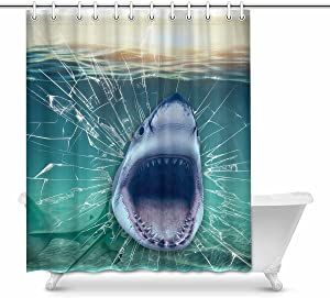 INTERESTPRINT Shark Coming Out of The Wall Home Bath Decor, Underwater Fish Polyester Fabric Shower Curtain Bathroom Sets 60 X 72 Inches