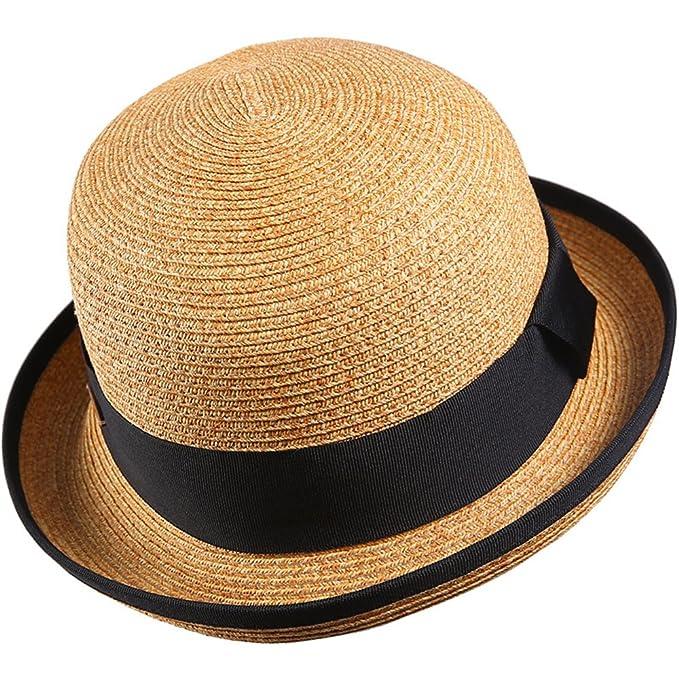 Sombreros Bombín Paja Mujer Chicas Verano Clásico Sombrero de Sol   Amazon.es  Ropa y accesorios 096f4ab6d53